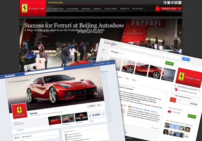 Ferrari Social Media pages