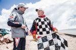 Sebastien Loeb and the Flag Man at the Pikes Peak international hill climb race