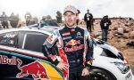 Sebastien Loeb after his victory at the Pikes Peak international hill climb race with the Peugeot 208 T16 pikes peak