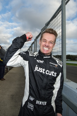 Grant Denyer celebrates Aus GT Endurance 101 race win, McLaren Melbourne, McLaren 650S GT3, Shannons Nationals Phillip Island May 2016