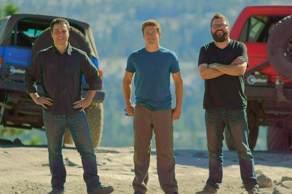 Picture Shows: Adam Ferrara, Tanner Foust, and Rutledge Wood after completing Rubicon Trail journey