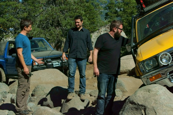 Picture Shows: 3 Hosts Tanner Foust, Adam Ferrara, and Rutledge Wood discussing Rubicon Trail