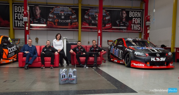 (L – R) Walkinshaw Group CEO, Tim Jackson, Acting General Manager of Motorsport, Matt Nilsson, Mobil 1 Retail Manager, Christie Torwick and Mobil 1 HSV Racing drivers, James Courtney and Scott Pye pictured at the official launch of Mobil 1's new 'Ask for Mobil' consumer promotion at the iconic home of Mobil 1 HSV Racing, the Walkinshaw Production Facility in Clayton.