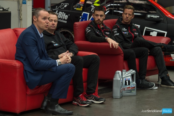 Walkinshaw Group CEO, Tim Jackson address the media while Acting General Manager of Motorsport, Matt Nilsson and Mobil 1 HSV Racing drivers, James Courtney and Scott Pye watch on.